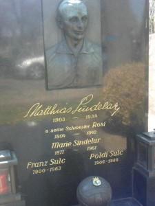 La lapide di Sindelar, Vienna, Zentralfriedhof, sezione B-2. Cartavelina è sepolto insieme alla sorella. Sulla palla lo stemma del Burgos (foto victor)