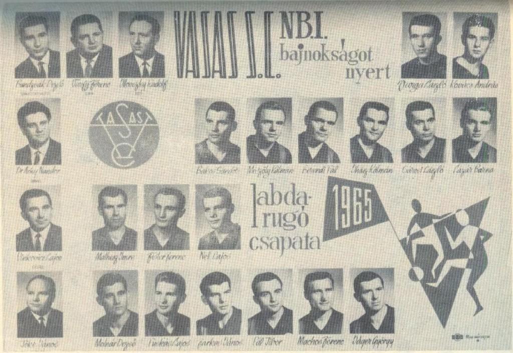 Il Vasas vincitore nel 1965
