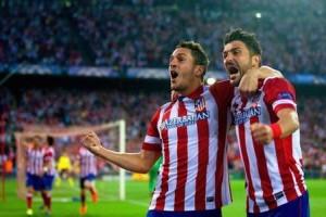 Koke festeggia dopo il gol al Barcellona