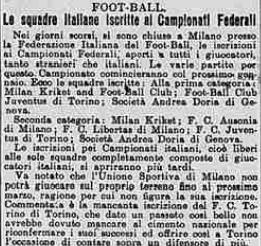 1908 iscrizione ai campionati