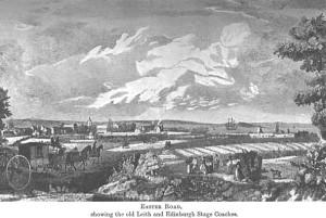 Easter Road, la strada che congiungeva Edinburgo a Leith, nel XVIII sec.