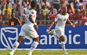 André Ayew dopo il gol vincente contro il Senegal
