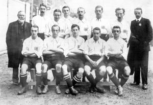La nazionale del Regno Unito che vince l'oro a Londra 1908