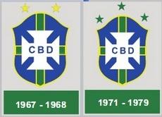 Stemmi della CBD. Già in occasione del tour europeo del 1967 la nazionale brasiliana aveva messo due stelle sullo stemma per ricordare le allora due vittorie mondiali